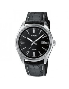 CASIO Collection Black Leather Strap Black Dial