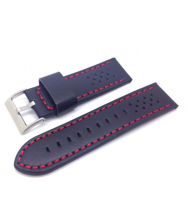 DILOY Black leather strap with red stitching 22mm