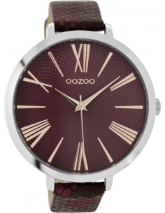 OOZOO TIMEPIECES bordeaux croco leather strap