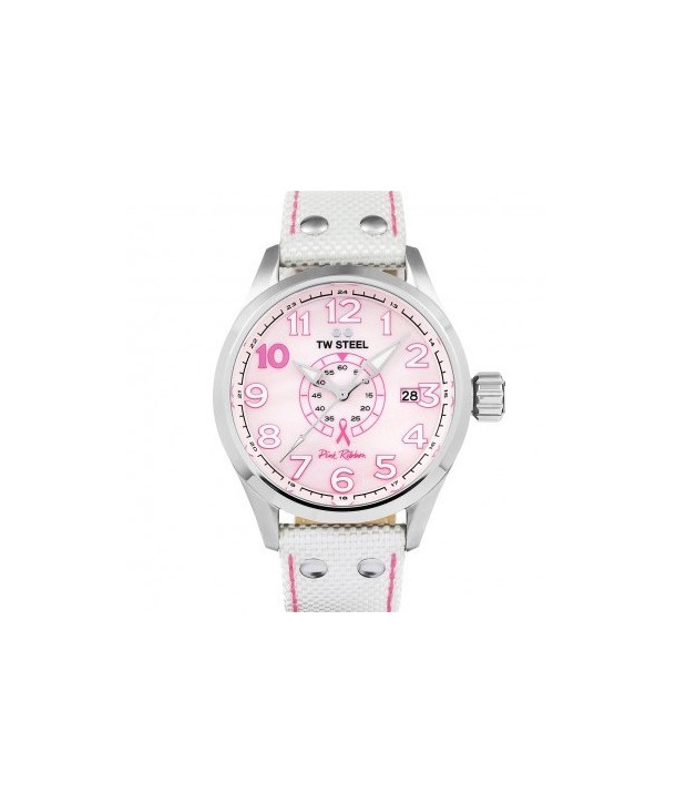 TW Steel Pink Ribbon Special Edition White Textile Strap