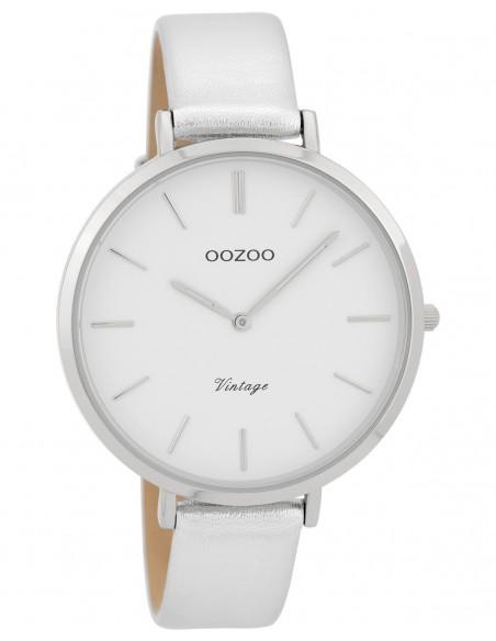 Ρολόι OOZOO Vintage Με Ασημί Δερμάτινο Λουράκι
