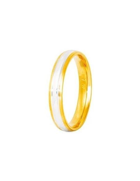 """Βέρες STERGIADIS """"S"""" Χρυσές Ασημί-Χρυσό 3.5mm"""