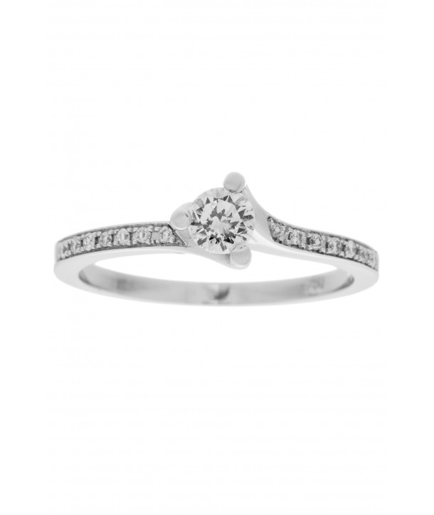 Μονόπετρο Δαχτυλίδι Κ18 Λευκόχρυσο Με Διαμάντια - Κοσμήματα ... a9f33223447