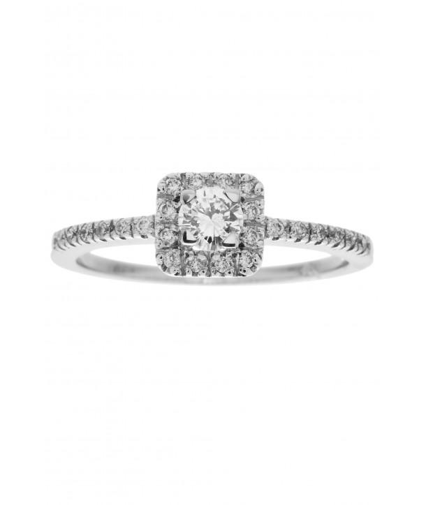 Μονόπετρο Δαχτυλίδι Κ18 Λευκόχρυσο Με Διαμάντια ESM0009