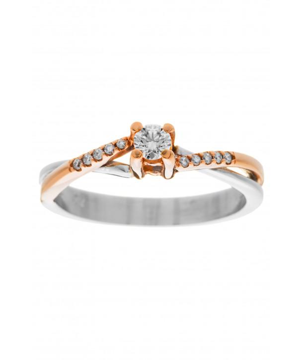 Μονόπετρο Δαχτυλίδι Κ18 Λευκόχρυσο- Ροζ Χρυσό Με Διαμάντια ESM0014