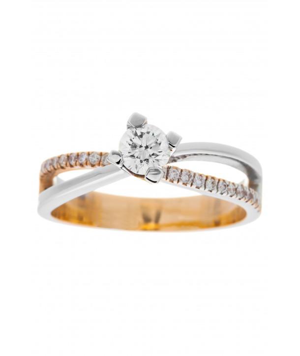 Μονόπετρο Δαχτυλίδι Κ18 Λευκόχρυσο- Ροζ Χρυσό Με Διαμάντια ... 9fa378730cd