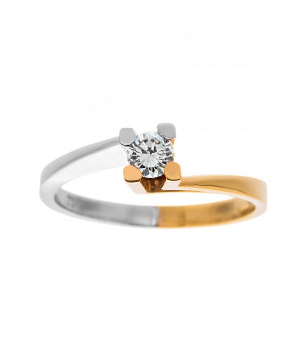 Μονόπετρο Δαχτυλίδι Κ18 Λευκόχρυσο - Κίτρινο Χρυσό με Διαμάντι ... cc5761b470a