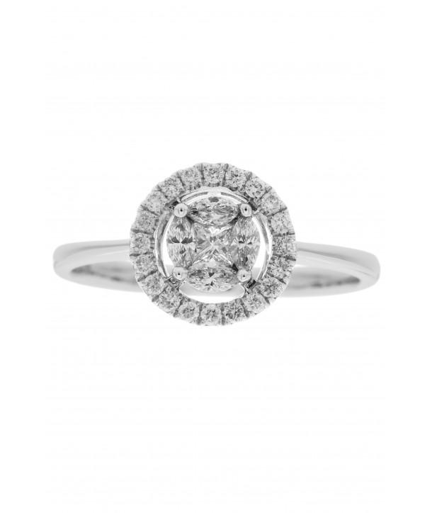 Μονόπετρο Δαχτυλίδι Κ18 Λευκόχρυσο Με Διαμάντια ESM0006