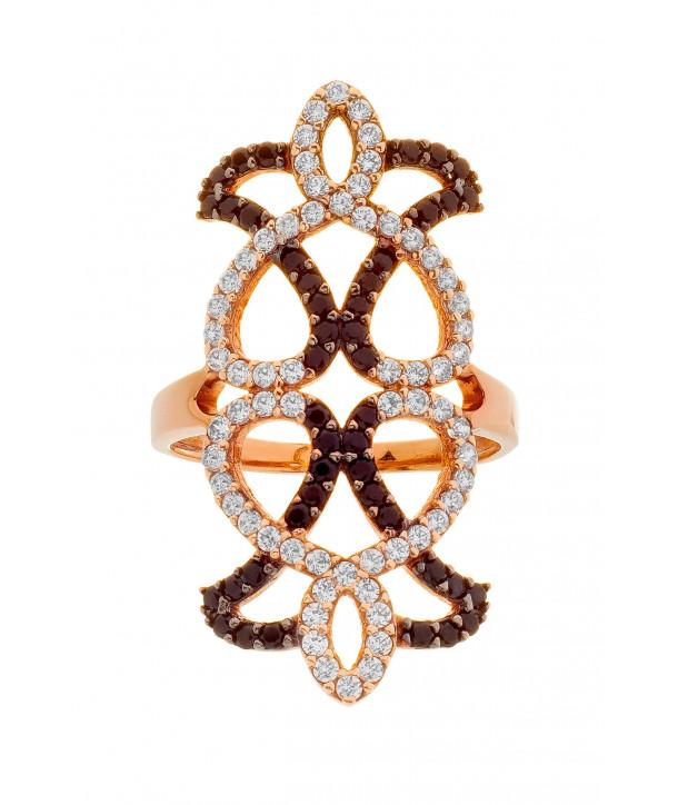 Δαχτυλίδι VITOPOULOS  Κ14 Ροζ Χρυσό με λευκά ζιργκόν