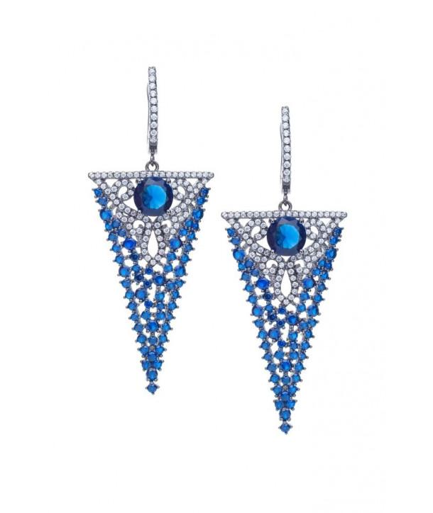 Σκουλαρίκια VITOPOULOS Ασήμι 925 Με Λευκές και Μπλε Πέτρες Ζιργκόν AS01166