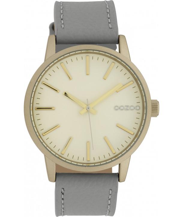Ρολόι OOZOO Timepieces Με Γκρι Δερμάτινο Λουράκι C10016