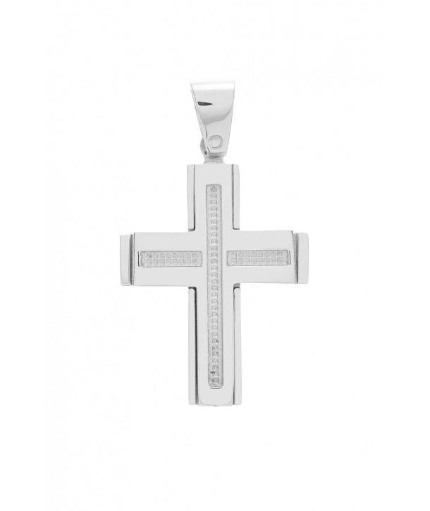 Ανδρικός Σταυρός VITOPOULOS Λευκόχρυσο Κ14 ESST295