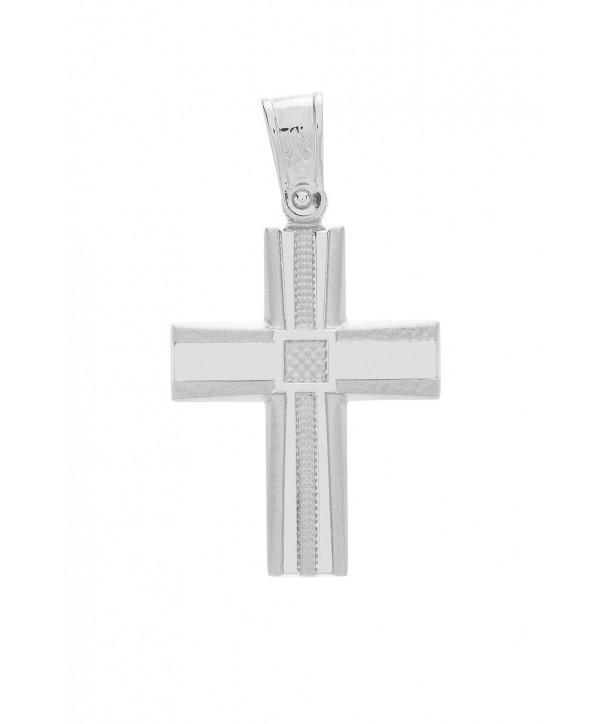 Ανδρικός Σταυρός VITOPOULOS Λευκόχρυσο Κ14 ESST315