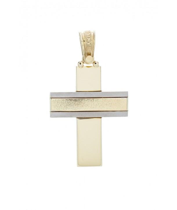 Ανδρικός Σταυρός TRIANTOS Κίτρινο και Λευκό Χρυσό Κ14 ESST336