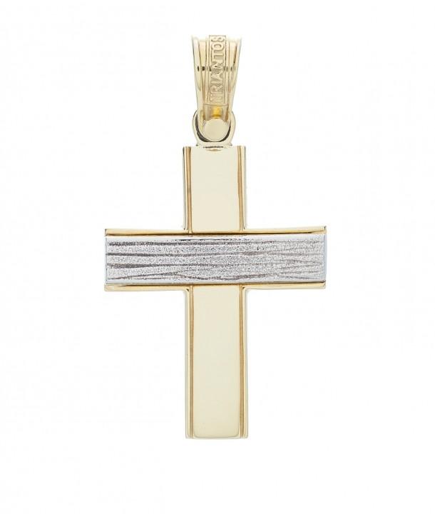 Ανδρικός Σταυρός TRIANTOS Κίτρινο και Λευκό Χρυσό Κ14 ESST333