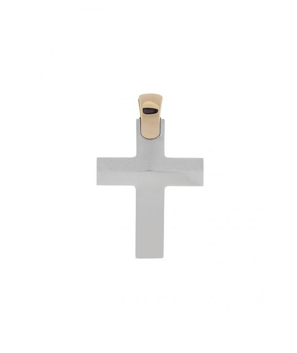 Ανδρικός Σταυρός VAL'ORO Κίτρινος-Λευκός Χρυσός Κ14 ESST254