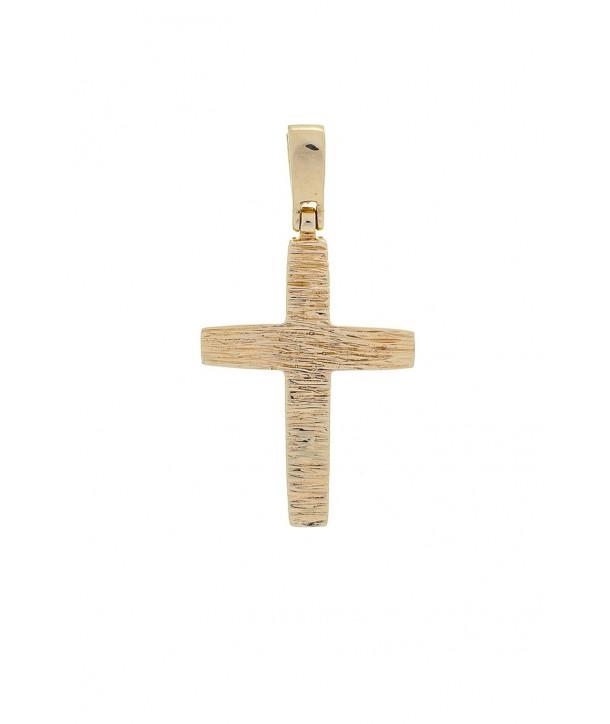 Ανδρικός Σταυρός VITOPOULOS Κίτρινος Xρυσός Κ14 ESST240