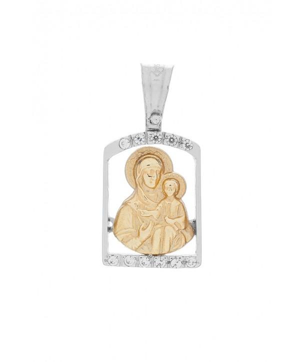 Γυναικείο Μενταγιόν VITOPOULOS Κίτρινο και Λευκό Χρυσό Κ14 Με Ζιργκόν ESK0243