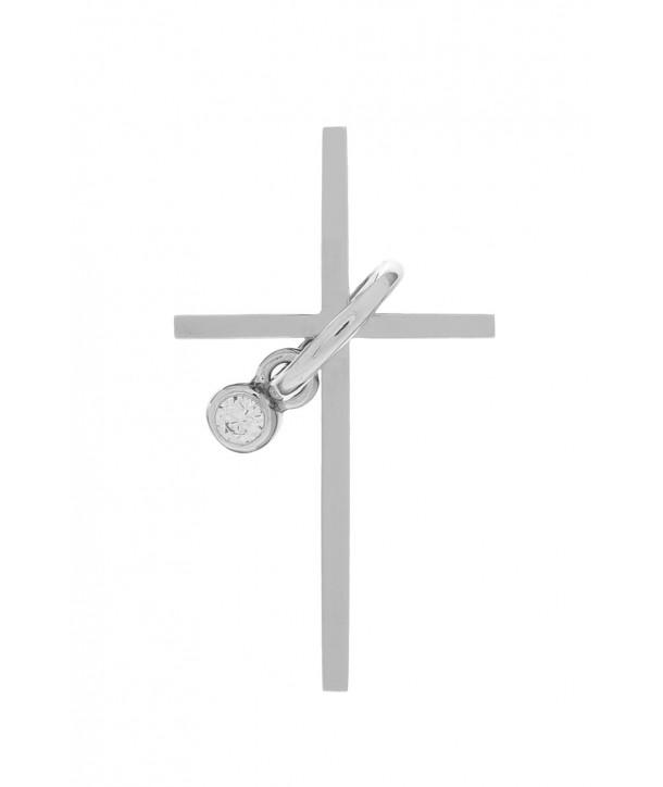Γυναικείος Σταυρός VITOPOULOS Λευκό Χρυσό Κ18 Με Μπριγιάν ESST362