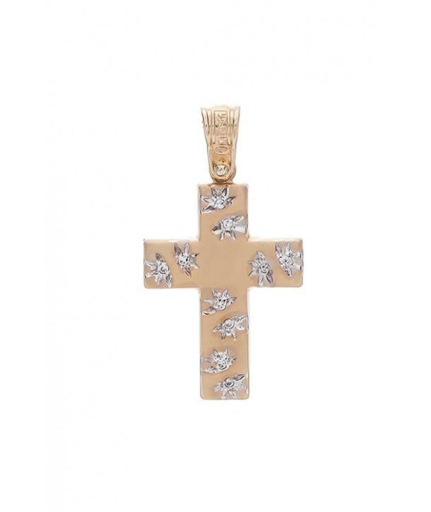 Γυναικείος Σταυρός VITOPOULOS Κίτρινο Χρυσό Κ14 Με Λευκά Ζιργκόν ESST107