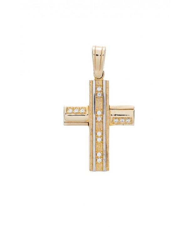 Γυναικείος Σταυρός VITOPOULOS Κίτρινος-Λευκός Xρυσός Κ14 Με Λευκά Ζιργκόν ESST101
