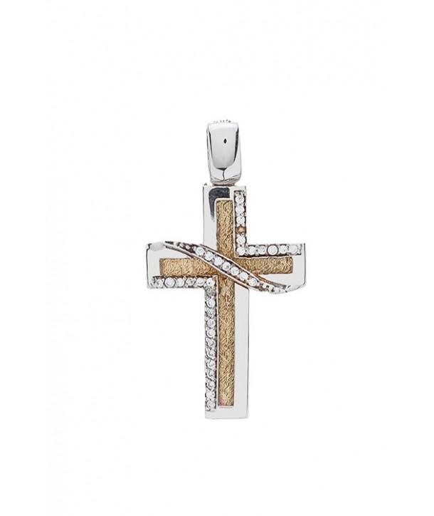 Γυναικείος Σταυρός VITOPOULOS Κίτρινος-Λευκός Xρυσός Κ14 Με Λευκά Ζιργκόν ESST090