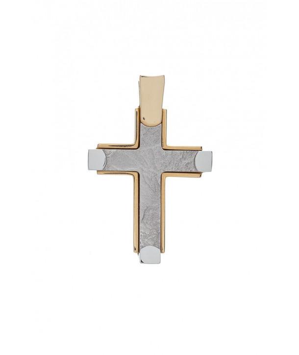 Ανδρικός Σταυρός VAL'ORO Κίτρινος-Λευκός Χρυσός Κ14 ESST127