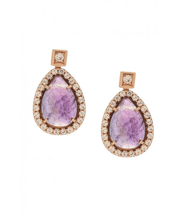 Σκουλαρίκια VITOPOULOS Ροζ Χρυσά 14K Με Πέτρες ESK0311
