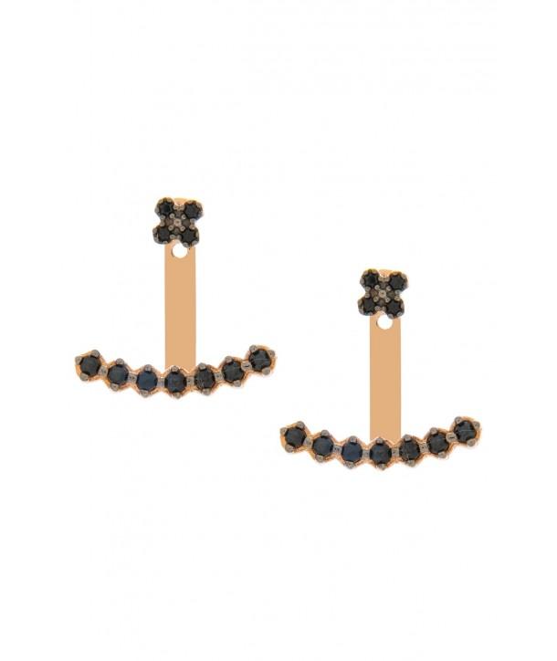 Σκουλαρίκια VITOPOULOS Ροζ Χρυσό Κ14 Με Πέτρες ESS0176
