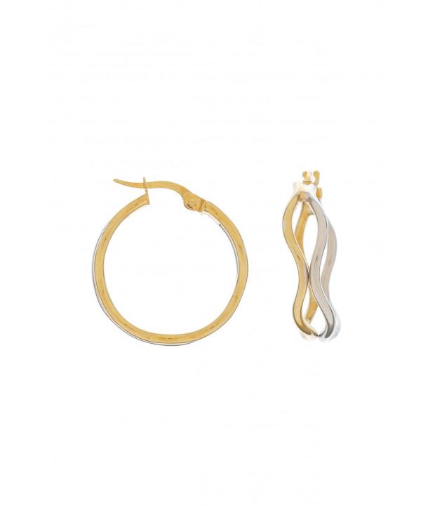 Σκουλαρίκια VITOPOULOS Κίτρινα - Λευκά Χρυσά 14K ESS0206