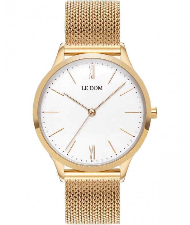 Ρολόι LE DOM Classic Με Χρυσό Ατσάλινο Mesh Μπρασελέ LD.1000-17