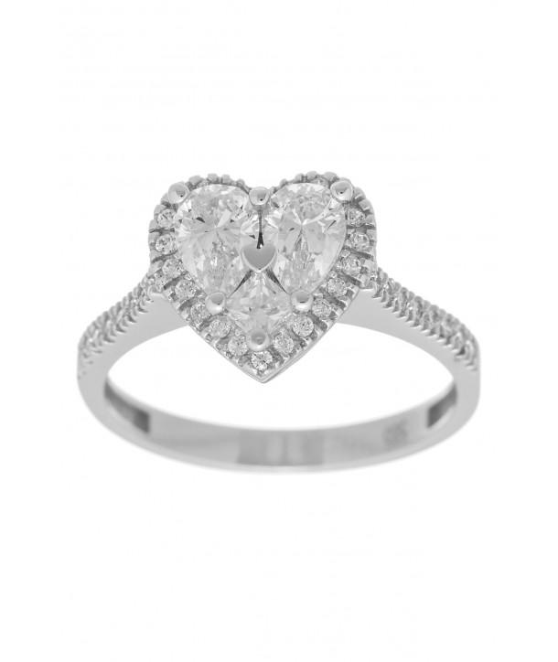 Δαχτυλίδι VITOPOULOS Λευκό Χρυσό 14K Με Πέτρες ESD0182