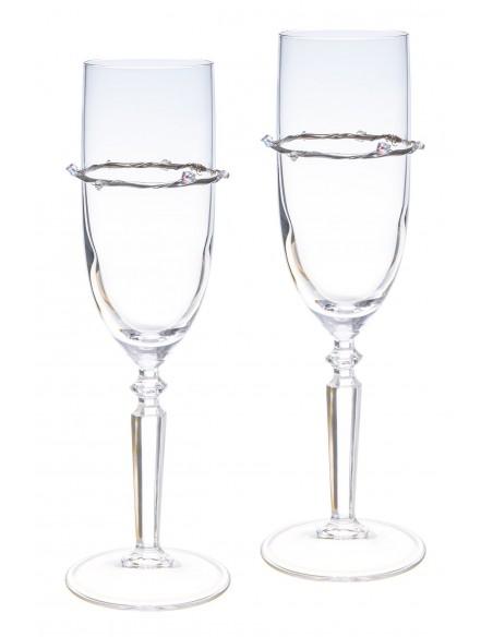 Ποτήρια Σαμπάνιας VITOPOULOS Γυάλινα Ασήμι 925° ESG0010