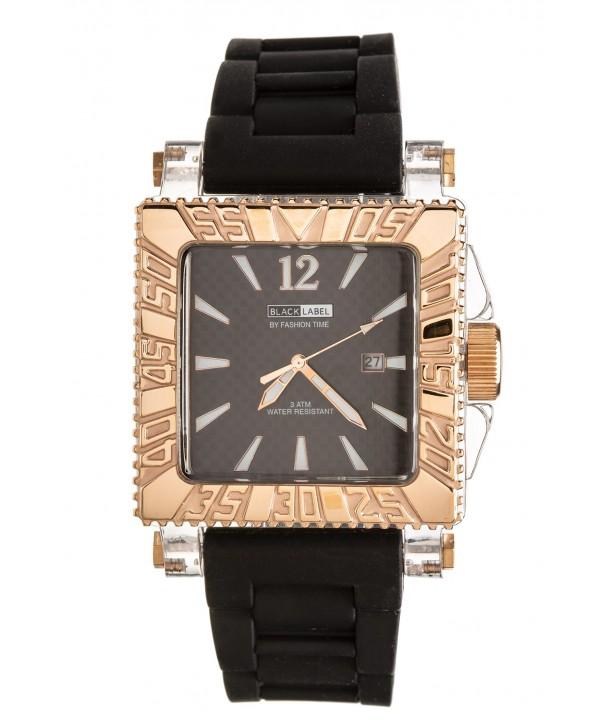 Ρολόι BLACK LABEL Με Μαύρο Καουτσούκ Λουράκι BL-11D-Rose Gold