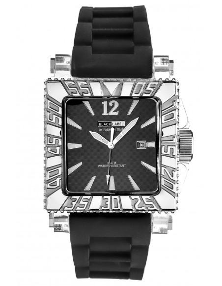Ρολόι BLACK LABEL Με Μαύρο Καουτσούκ Λουράκι BL-11D-Silver