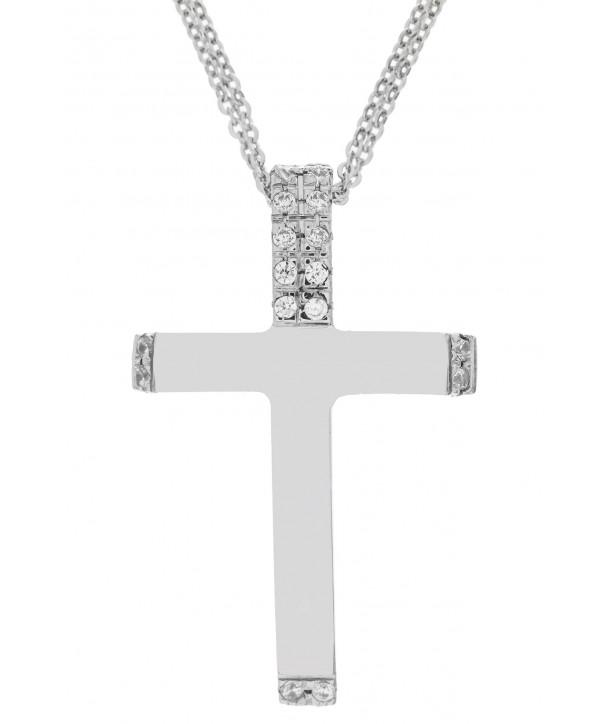 Γυναικείος Σταυρός VAL'ORO Λευκόχρυσο Κ14 Με Λευκά Ζιργκόν ESST416
