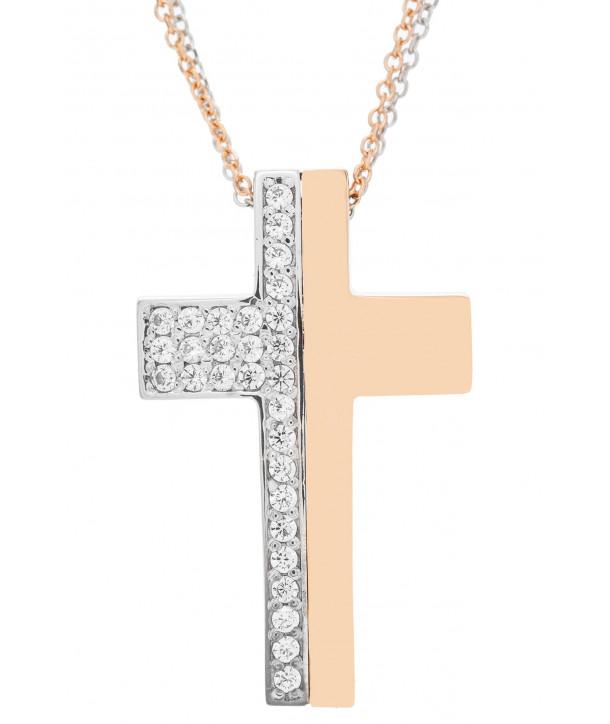 Γυναικείος Σταυρός VITOPOULOS Ροζ και Λευκό Χρυσό Κ14 Με Λευκά Ζιργκόν ESST411