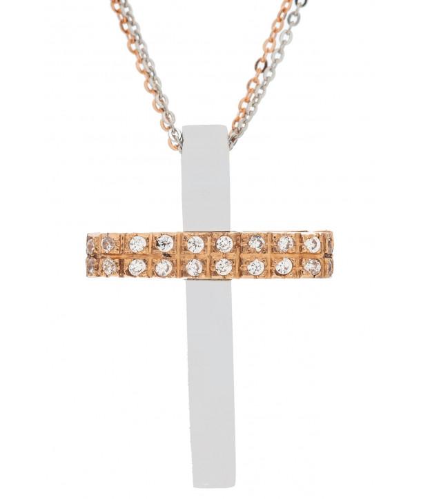 Γυναικείος Σταυρός VAL'ORO Ροζ και Λευκό Χρυσό Κ14 Με Λευκά Ζιργκόν ESST414