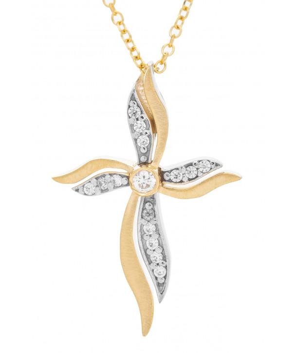Γυναικείος Σταυρός VITOPOULOS Κίτρινο Χρυσό Κ14 Με Λευκά Ζιργκόν ESST400