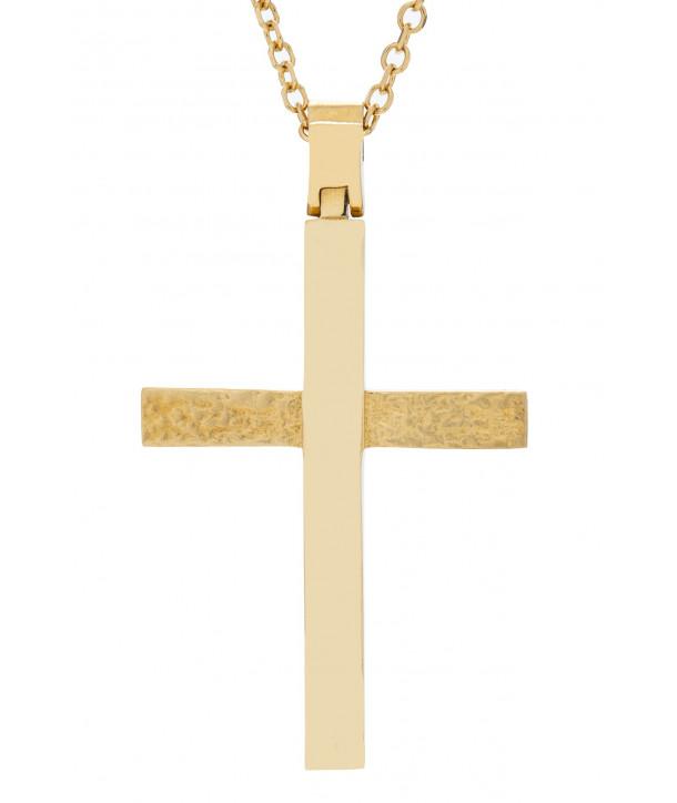 Γυναικείος Σταυρός VITOPOULOS Κίτρινο Χρυσό Κ14 ESST394