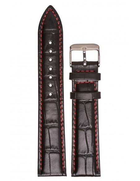 Λουράκι TZEVELION Μαύρο Κροκό Δερμάτινο Με Κόκκινο Γαζί 20mm 521G.8.20