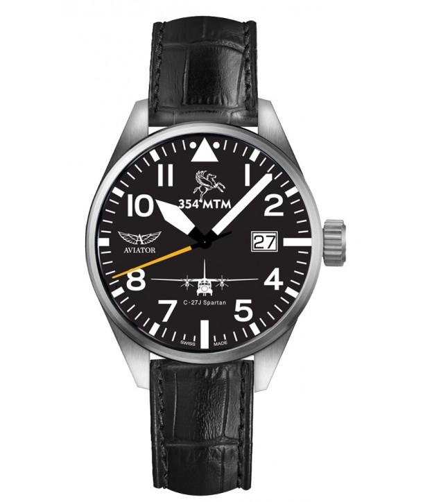 Ρολόι AVIATOR HAF 354 Squadron Special Limited Edition Με Μαύρο Δερμάτινο Λουράκι