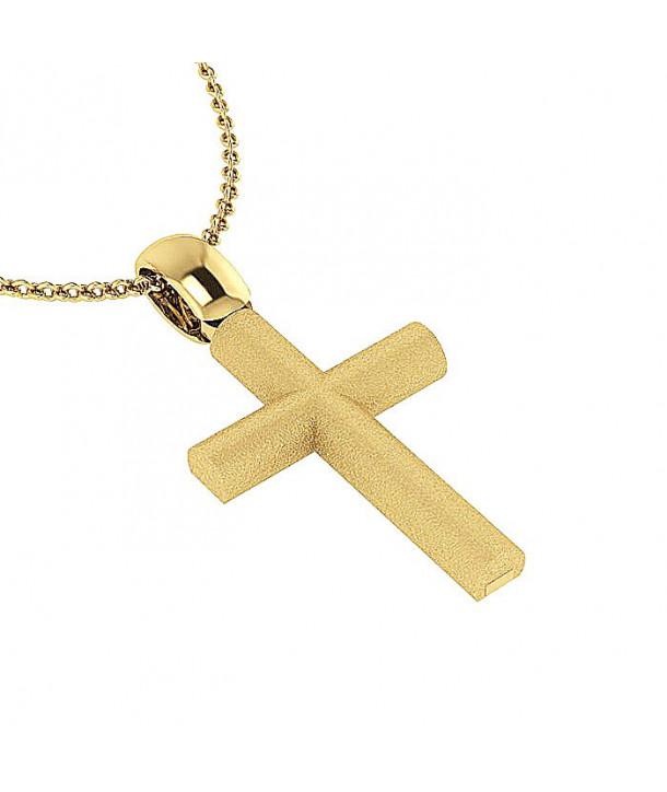 Σταυρός CHARMING PENDANTS Κίτρινο Χρυσό Ασήμι 925