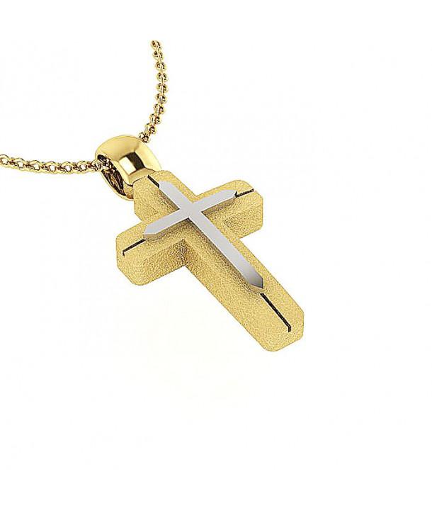 Σταυρός CHARMING PENDANTS Ασημί-Κίτρινο Χρυσό Ασήμι 925