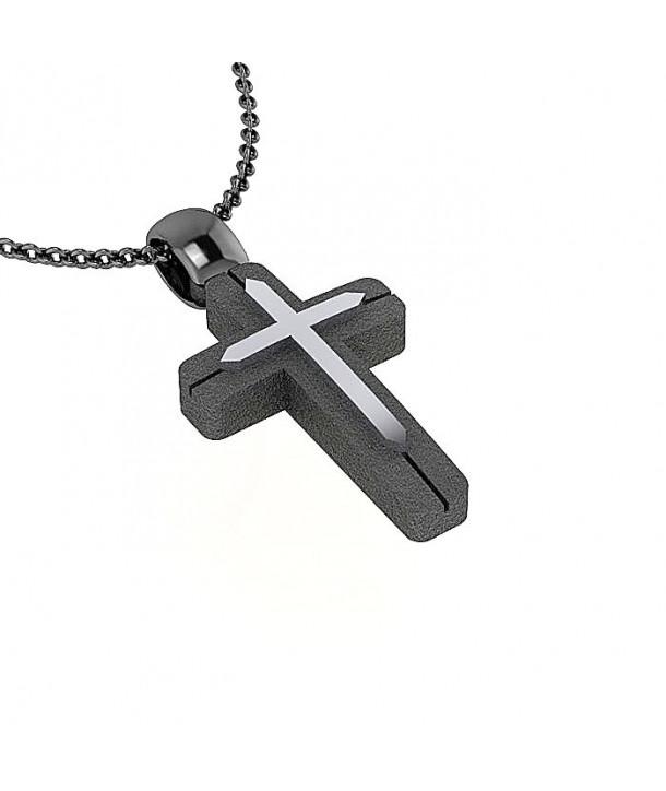 Σταυρός CHARMING PENDANTS Ασημί-Μαύρο Ασήμι 925
