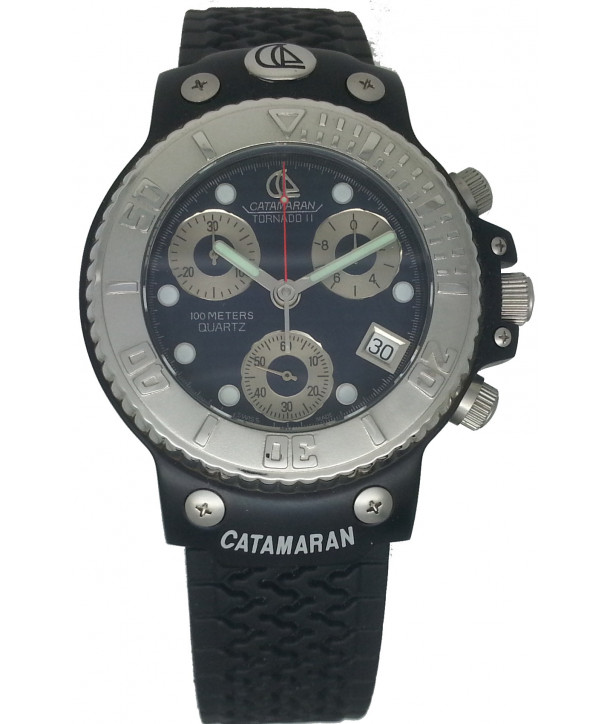 CATAMARAN Black Rubber Strap