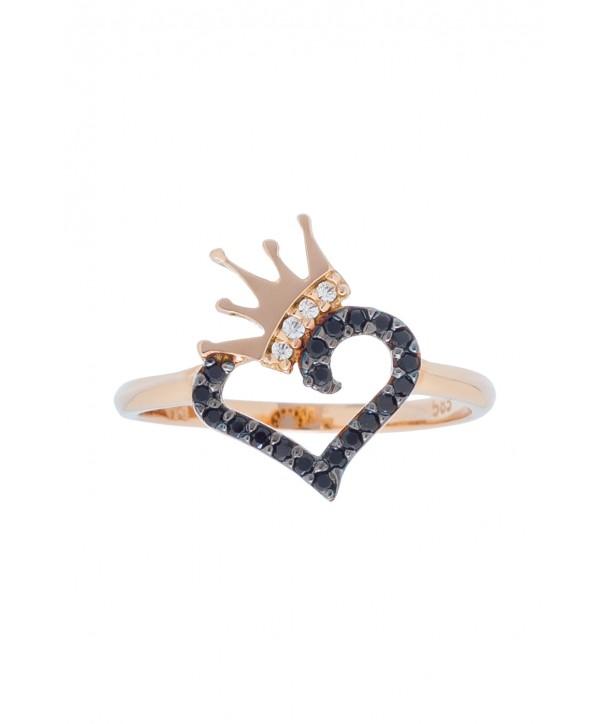 Δαχτυλίδι Vitopoulos ροζ χρυσό με καρδιά και κορώνα