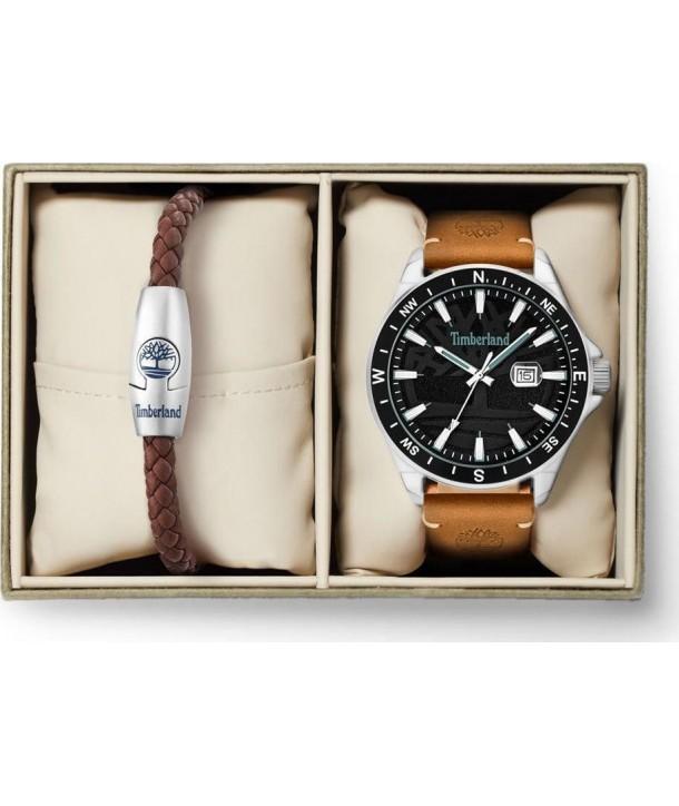 Ρολόι TIMBERLAND Swampscott Box Set Με Καφέ Δερμάτινο Λουράκι & Βραχιόλι
